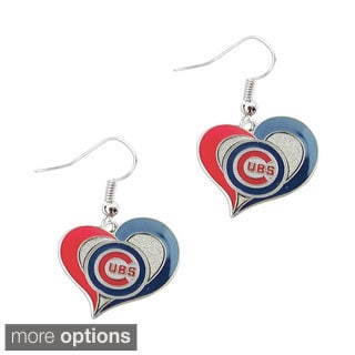 MLB Swirl Heart Shape Dangle logo Earring Set