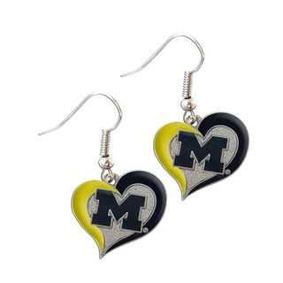 NCAA Michigan Wolverines Swirl Heart Shape Dangle Logo Earring Set