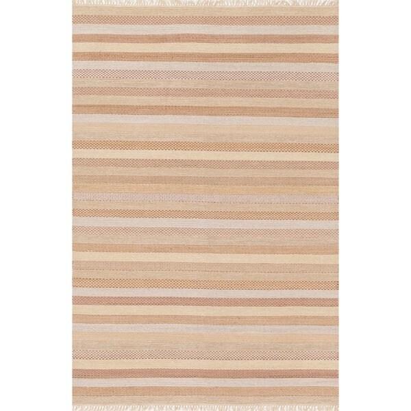 Hand-woven Lloyd Sand Wool Rug (5'0 x 7'6)