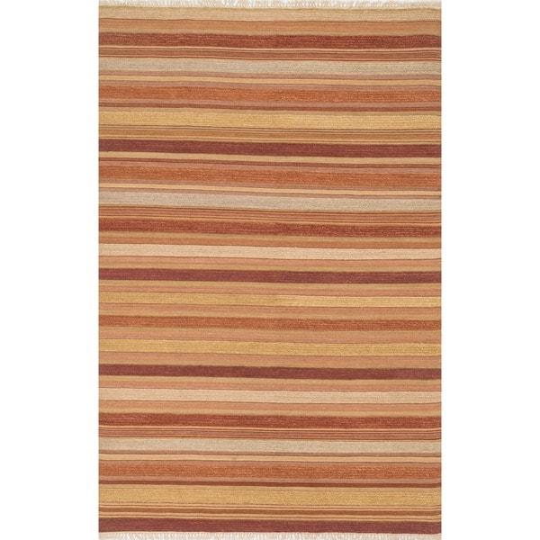 Hand-woven Lloyd Rust/ Multi Wool Rug - 5' x 7'6