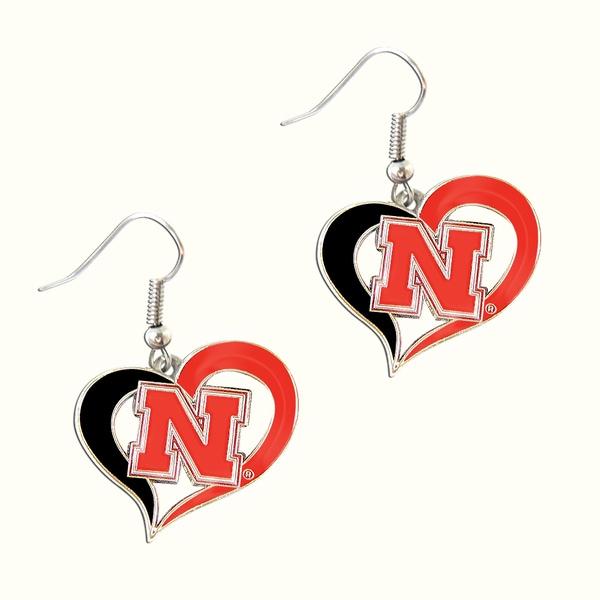 NCAA Nebraska Corn Huskers Swirl Heart Shape Dangle Logo Earring Set