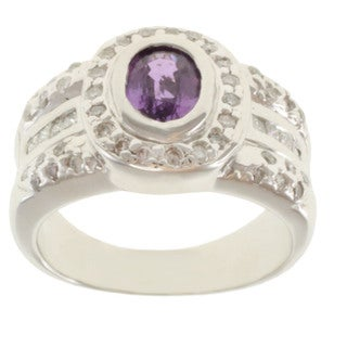 Michael Valitutti 14k White Gold Purple Sapphire and Diamond Ring (Size 7)