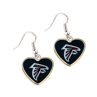 NFL Atlanta Falcons Heart Shaped Dangle Logo Earrings