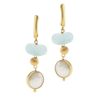 Michael Valitutti Gold over Silver Aquamarine and Pearl Earrings (10-10.5 mm)