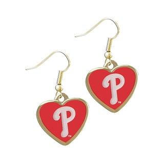 MLB Philadelphia Phillies Heart Shaped Dangle Logo Earring Set