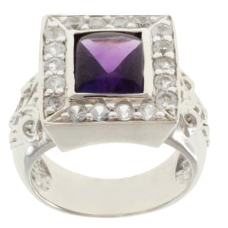 Michael Valitutti 14k White Gold Amethyst and White Sapphire Ring