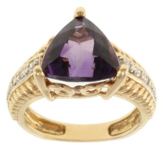 Michael Valitutti 14k Yellow Gold Amethyst and Diamond Ring (Size 5)