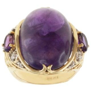 Michael Valitutti 14K Yellow Gold Purple Amethyst and Diamond Ring