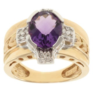 Michael Valitutti 14k Two-tone Gold Oval-cut Amethyst and Diamond Ring