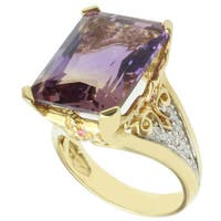 Michael Valitutti 18k Yellow Gold Ametrine, Pink Sapphire and Diamond Ring