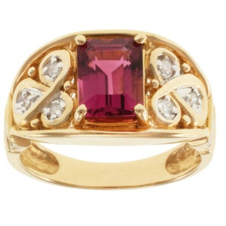 Michael Valitutti 14k Yellow Gold Pink Tourmaline and Diamond Ring (Size 7)