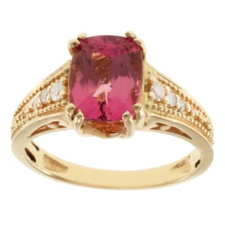 Michael Valitutti 14k Yellow Gold Pink Cushion-cut Tourmaline and Diamond Ring (Size 7)