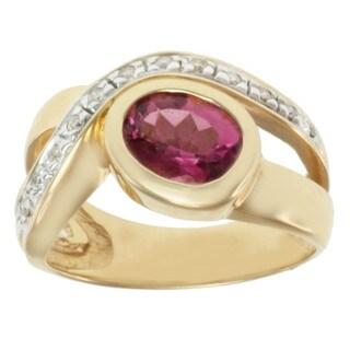 Michael Valitutti 14k Yellow Gold Pink Oval-cut Tourmaline and Diamond Ring (Size 7)