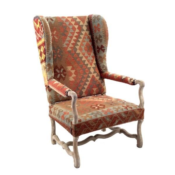 nuLOOM Southwestern Aztec Dhurrie Kilim High Back Arm Chair