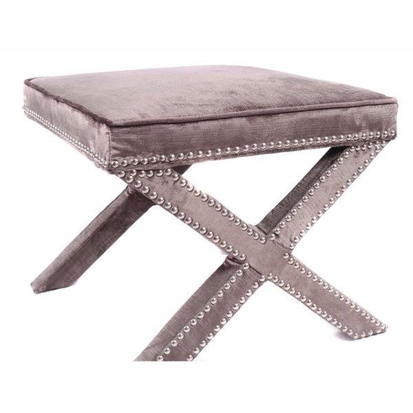 nuLOOM Contemporary Nailhead X Bench Grey Velvet Ottoman