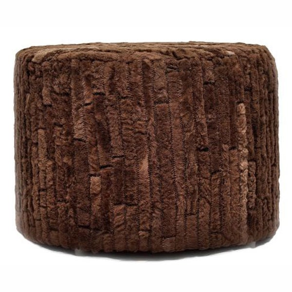 nuLOOM Contemporary Dark Brown Cowhide Patch Pouf
