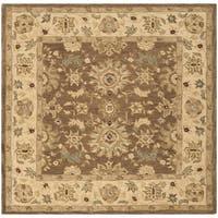 Safavieh Handmade Anatolia Treasure Oriental Brown/ Beige Hand-spun Wool Rug (6' Square)
