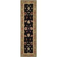 Safavieh Handmade Anatolia Oriental Black/ Green Hand-spun Wool Rug - 2'3 x 8'