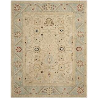 Safavieh Handmade Anatolia Oriental Natural/ Soft Turquoise Hand-spun Wool Rug (8' x 10')