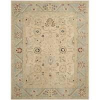 Safavieh Handmade Anatolia Oriental Natural/ Soft Turquoise Hand-spun Wool Rug - 8' x 10'