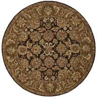 Safavieh Handmade Anatolia Oriental Dark Brown/ Gold Hand-spun Wool Rug - 6' Round