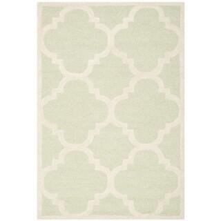 Safavieh Handmade Moroccan Cambridge Light Green/ Ivory Wool Rug (3' x 5')