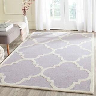 Safavieh Handmade Moroccan Cambridge Lavender/ Ivory Wool Rug (4' x 6')