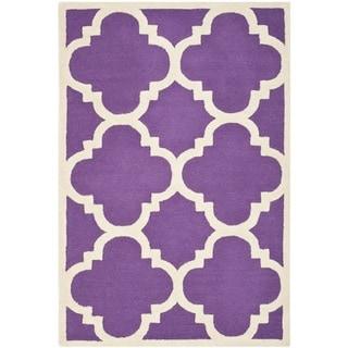Safavieh Handmade Moroccan Cambridge Purple/ Ivory Wool Rug (3' x 5')