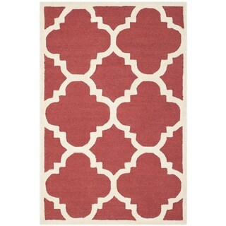 Safavieh Handmade Moroccan Cambridge Rust/ Ivory Wool Rug (4' x 6')