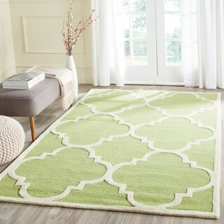 Safavieh Handmade Moroccan Cambridge Green/ Ivory Wool Rug (3' x 5')