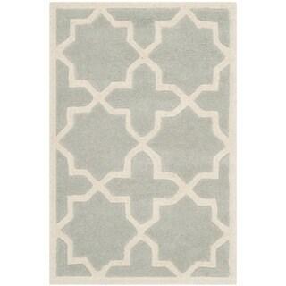 Safavieh Handmade Moroccan Chatham Canvas-backed Gray Wool Rug (2' x 3')