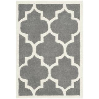 Safavieh Handmade Moroccan Chatham Dark Grey Geometric-pattern Wool Rug (2' x 3')
