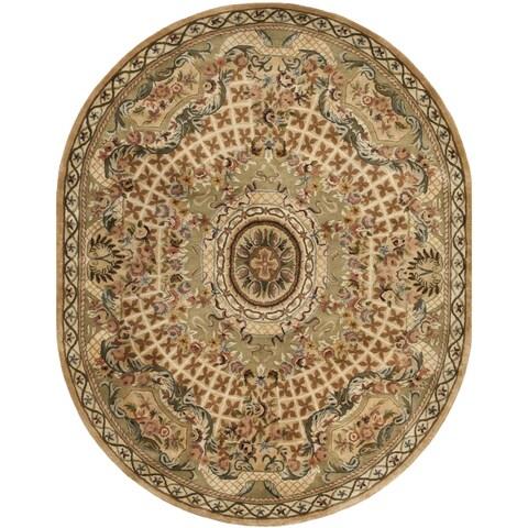 "Safavieh Hand-made Classic Taupe/ Light Green Wool Rug - 4'6"" x 6'6"" Oval"
