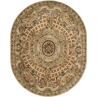 "Safavieh Hand-made Classic Taupe/ Light Green Wool Rug - 7'6"" x 9'6"" oval"