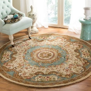 Safavieh Hand-made Classic Ivory/ Light Blue Wool Rug (8' Round)