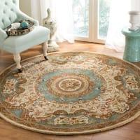 Safavieh Hand-made Classic Ivory/ Light Blue Wool Rug - 8' x 8' Round