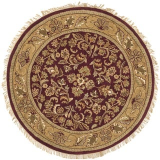 Safavieh Handmade Heritage Timeless Traditional Red/ Gold Wool Rug (8' Round)