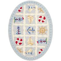 "Safavieh Hand-made Chelsea Ivory Wool Rug - 4'-6"" X 6'-6"" Oval"