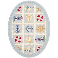 Safavieh Hand-made Chelsea Ivory Wool Rug - 4'6' x 6'6 oval
