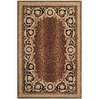 Safavieh Hand-made Naples Black/ Gold Wool Rug (6' x 9')