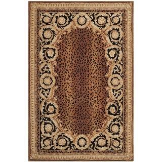 Safavieh Hand-made Naples Black/ Gold Wool Rug - 6' x 9'