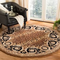 Safavieh Hand-made Naples Black/ Gold Wool Rug - 6' Round