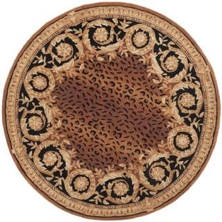 Safavieh Hand-made Naples Black/ Gold Wool Rug (8' Round)