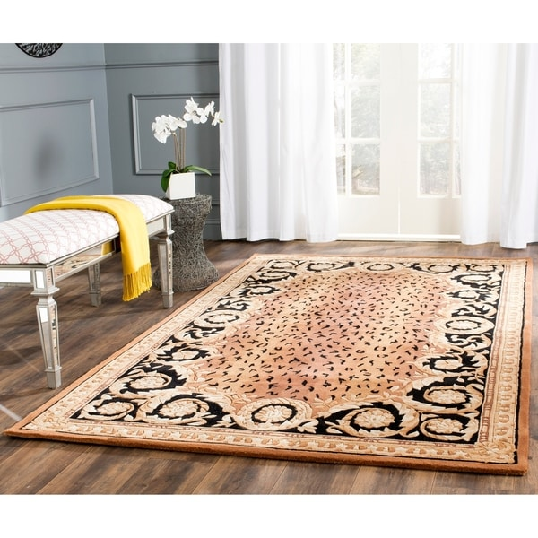 Safavieh Hand-made Naples Black/ Gold Wool Rug - 8' x 11'