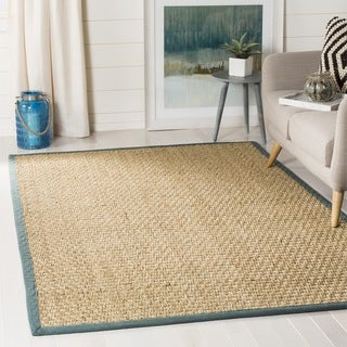 Safavieh Casual Natural Fiber Natural and Light Blue Border Seagrass Rug (8' Square)