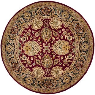 Safavieh Hand-made Persian Legend Rust/ Navy Wool Rug (8' Round)