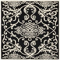 Safavieh Hand-made Soho Black/ Ivory Wool Rug - 6' Square