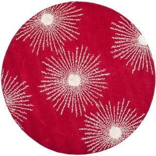 Safavieh Hand-made Soho Burst Red/ Ivory Wool Rug (6' Round)