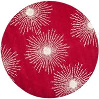 Safavieh Hand-made Soho Burst Red/ Ivory Wool Rug - 6' x 6' Round