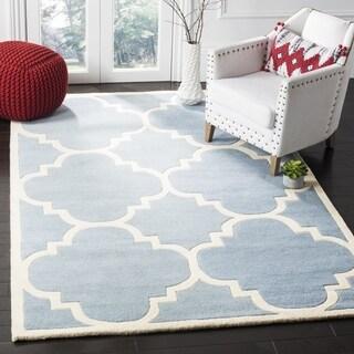 Safavieh Handmade Moroccan Chatham Blue Wool Area Rug (8'9 Square)